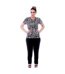 pijama ficalinda de blusa manga curta estampa animal print de zebra e viés preto e calça comprida preta.