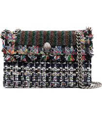 kurt geiger london tweed embroidered shoulder bag - black