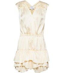 ruffled front wrap dress kort klänning creme designers, remix