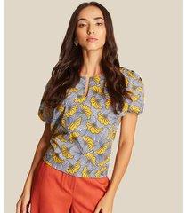 blusa manga corta a rayas con estampado flores