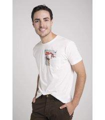 camiseta bolsillo estampado hombre delascar - blanco ts011