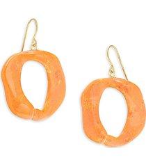 kenneth jay lane women's goldtone oval drop earrings