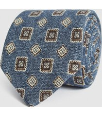 reiss arezzo - wool medallion tie in soft blue, mens
