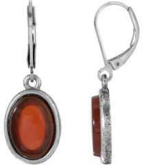 2028 silver-tone semi precious carnelian oval flat drop earrings