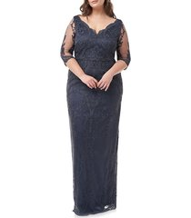 plus size women's js collections scallop v-neck embroidered mesh gown