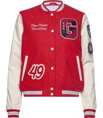 d1. moleskin gant varsity jacket bomberjack rood gant