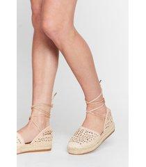 womens it's crochet with us tie espadrille sandals - beige