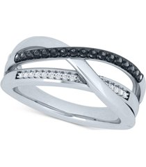 black & white diamond crossover ring (1/4 ct. t.w.) in sterling silver