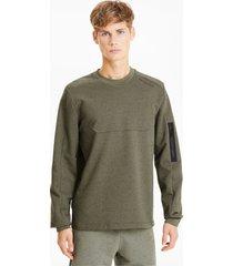 porsche design raglan long sleeve racesweater voor heren, groen/heide, maat xs | puma