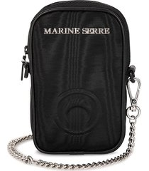 marine serre logo-plaque phone pouch - 00 black