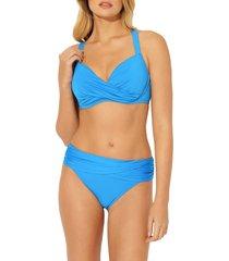 women's bleu by rod beattie underwire bikini top, size 38dd - blue