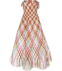 oscar de la renta flared long dress - multicolour