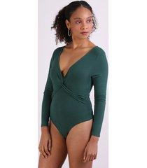 body feminino com trasnpasse manga longa decote em v verde escuro