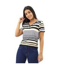 blusa feminina estampada listrada manga curta tecido leve
