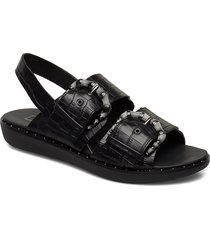 kaia croc print back-strap sandals shoes summer shoes flat sandals svart fitflop