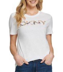 dkny camo glitter logo t-shirt
