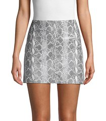 snakeskin-print leather mini skirt