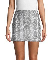 snakeskin-print leather mini skirt