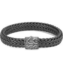 'classic chain' diamond rhodium silver bracelet