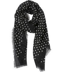 saint laurent dotted print fringed edge scarf