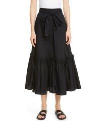 women's rosetta getty tie waist ruffle hem midi skirt, size 2 - black