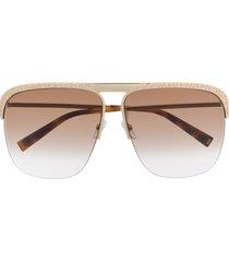 givenchy eyewear crystal-embellished aviator sunglasses - gold