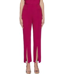 'serin' double faced front slit satin pants