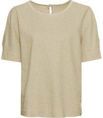 geraffineerd blouseshirt van hennep-/katoenmix met ronde hals, beige s
