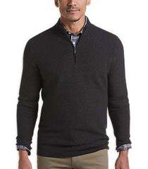 joseph abboud black merino wool blend modern fit 1/4-zip sweater