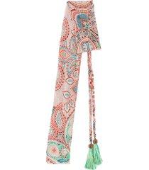 etro paisley print tassel scarf - orange