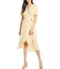 women's rails florence daisy print wrap dress, size large - yellow