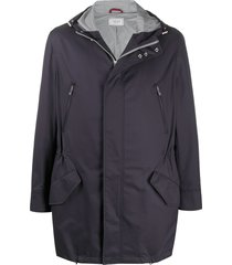 brunello cucinelli hooded mid-length parka - blue
