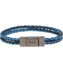 prada braided wrist strap - blue