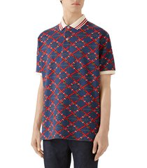 men's gucci belt chess print short sleeve pique polo