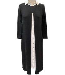 ai19-850 half-lang tricot kleed wit hemdkleed