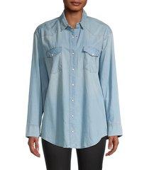 allsaints women's gemma long-sleeve shirt - indigo - size 4