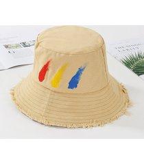 verano al aire libre de viaje moda algodón mujer cubo sombrero pintado