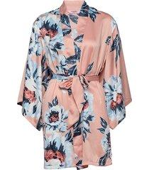 kimono satin painted flower morgonrock rosa hunkemöller