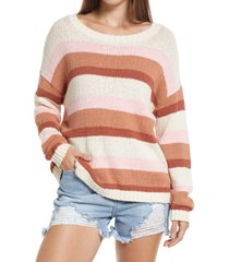 billabong seeing double stripe sweater, size large in white cap at nordstrom