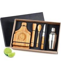 kit bar caipirinha inox bambu coqueteleira tabua 6 peças marrom