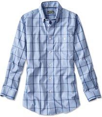 hidden-button-down wrinkle-free cotton twill shirt / tall, blue windowpane, medium