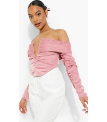 crop top met open schouders en laag decolleté, rose