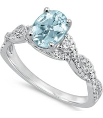 gemstone bridal aquamarine (1 ct. t.w.) & diamond (1/4 ct. t.w.) engagement ring in 14k white gold