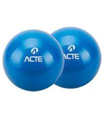par de bolas tonificadoras 16cm 3kg em pvc azul t57 acte