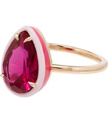 alison lou 14kt gold cocktail ruby ring - red