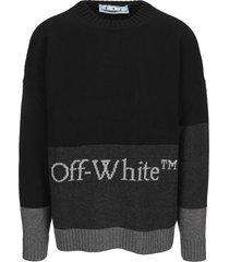off-white off white color block sweater