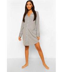 zwangerschaps geborduurde jersey nachtjapon met knopen, grey