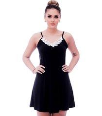 camisola ficalinda de alã§a fina preta com renda guipir branca no decote - preto - feminino - poliamida - dafiti