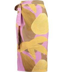 saia by the sea envelope estampada - multicolorido/rosa - feminino - viscose - dafiti