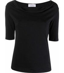 snobby sheep cowl-neck fitted top - black
